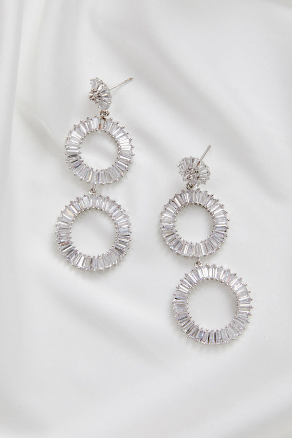 Long White Gold Statement Bridal Earrings by Amelie George Bridal