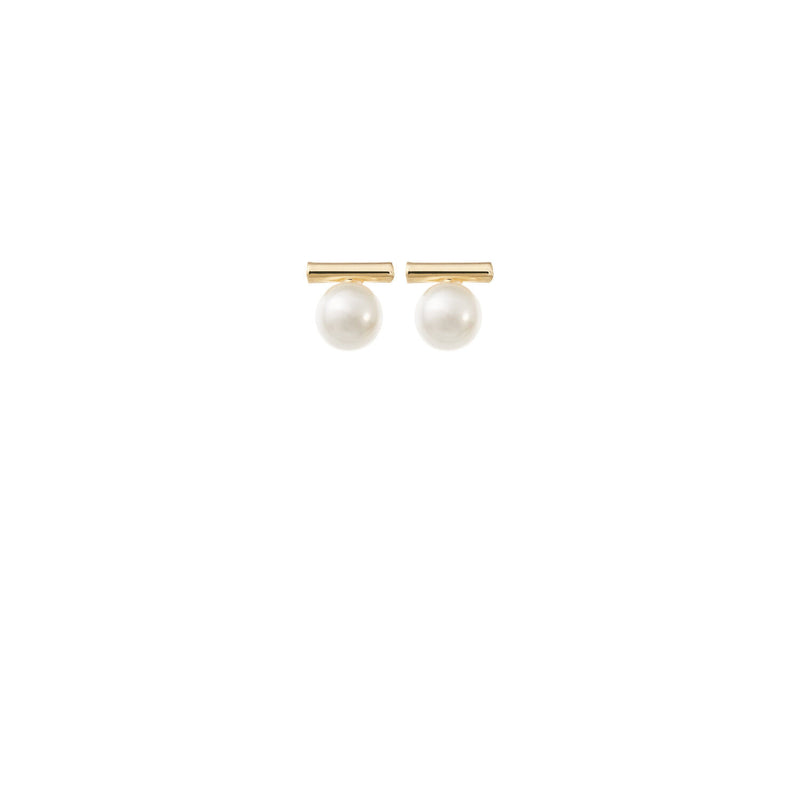 Minimalist Pearl Wedding Earrings in Gold by Amelie George Bridal