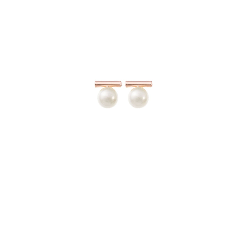 Minimalist Pearl Wedding Earrings in Rose Gold by Amelie George Bridal