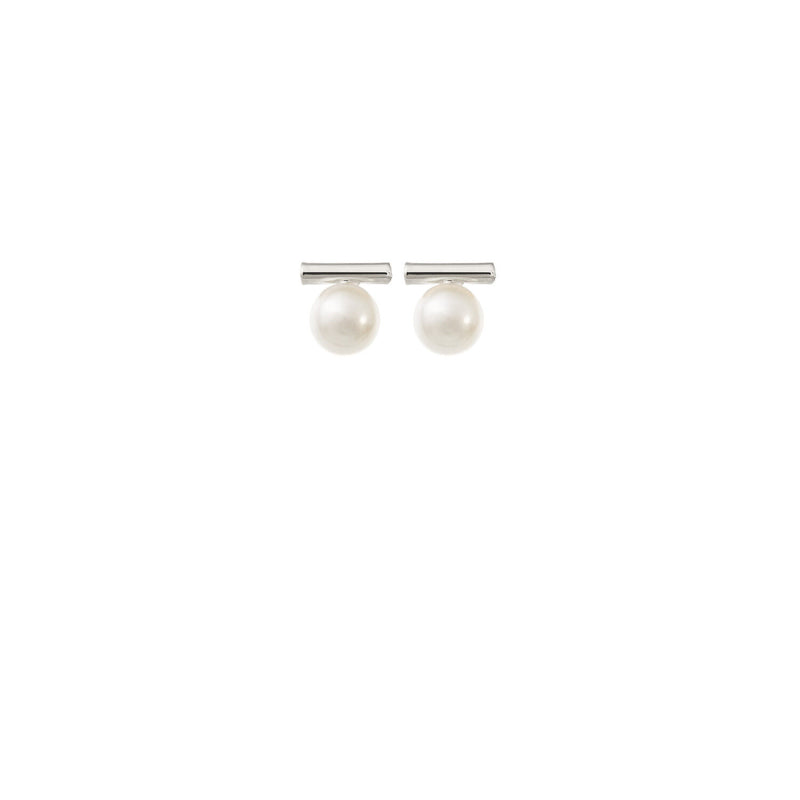 Minimalist Pearl Wedding Earrings in Silver by Amelie George Bridal