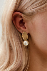 Pearl Dangle Wedding Earrings by Amelie George Bridal, Gold  Modern Wedding Jewellery