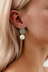 Pearl Dangle Wedding Earrings by Amelie George Bridal, White Gold Modern Wedding Jewellery