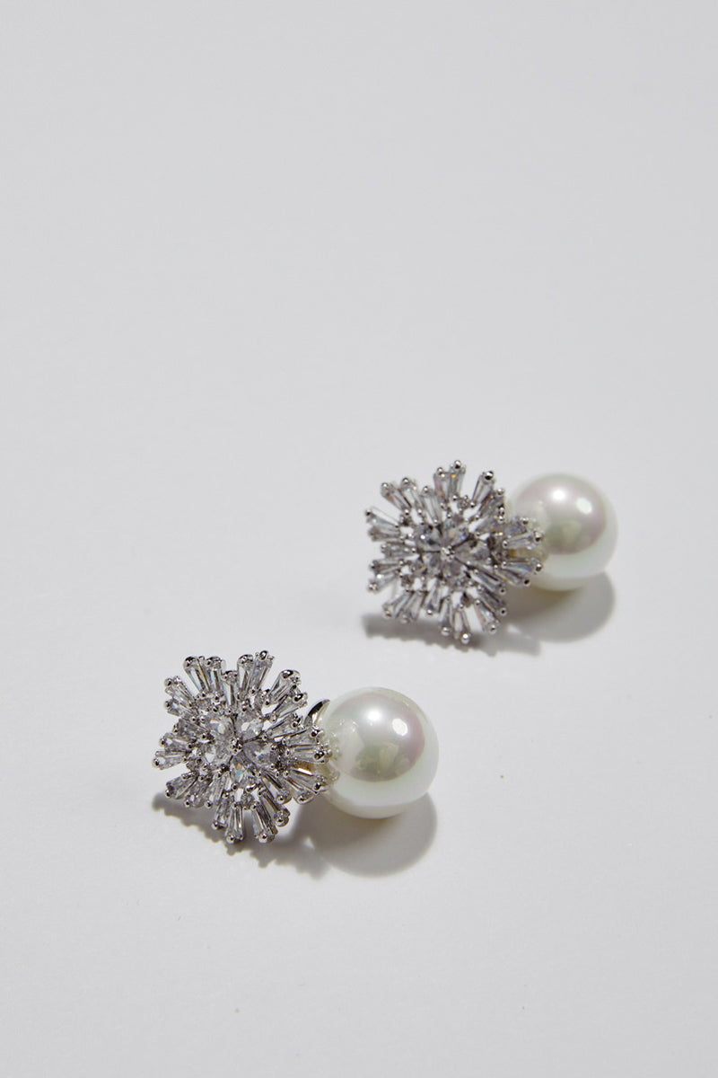 Pearl Wedding Earrings White Gold by Amelie George Bridal