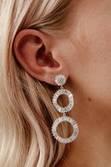 White Gold Rhinestone Earrings for Wedding by Amelie George Bridal
