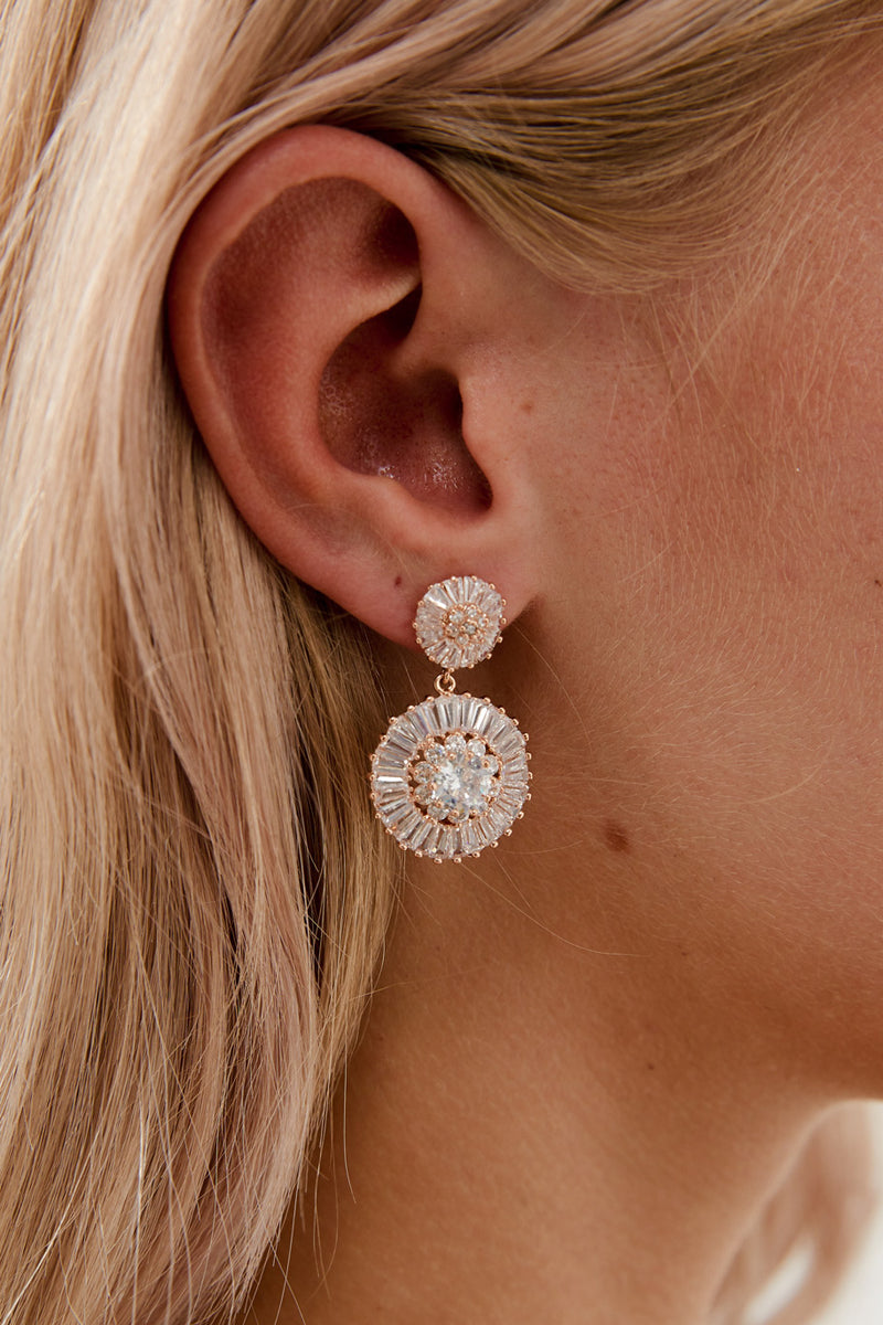 Rose Gold Diamond Earrings by Amelie George Bridal