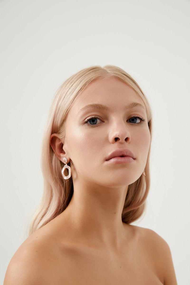 Rose Gold Diamond Hoop Bridal Earrings, by Amelie George Bridal
