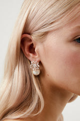 Rose Gold Diamond Pearl Earrings by Amelie George Bridal