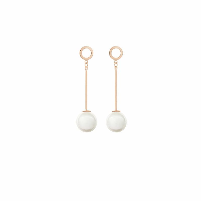 Rose Gold Pearl Drop Earrings by Amelie George Bridal Modern Wedding Jewellery