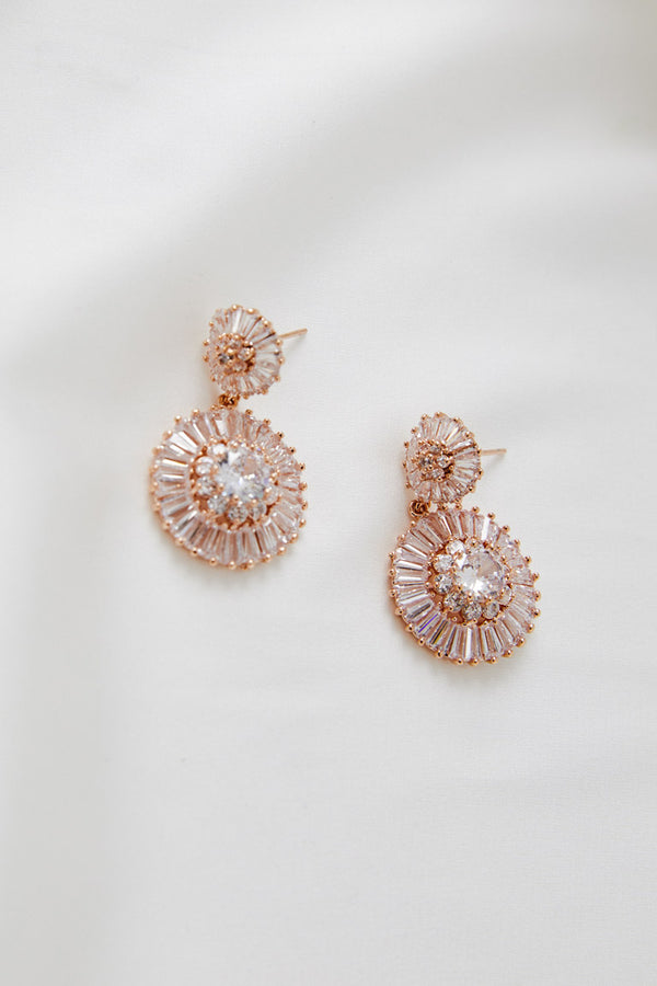 Rose Gold Swarovski Wedding Earrings by Amelie George Bridal