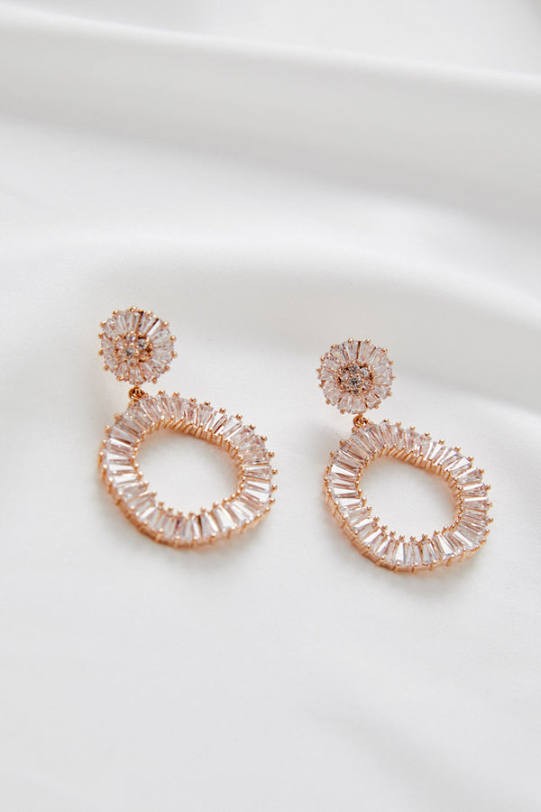RoseGold Dangle Earrings For Wedding by Amelie George Bridal