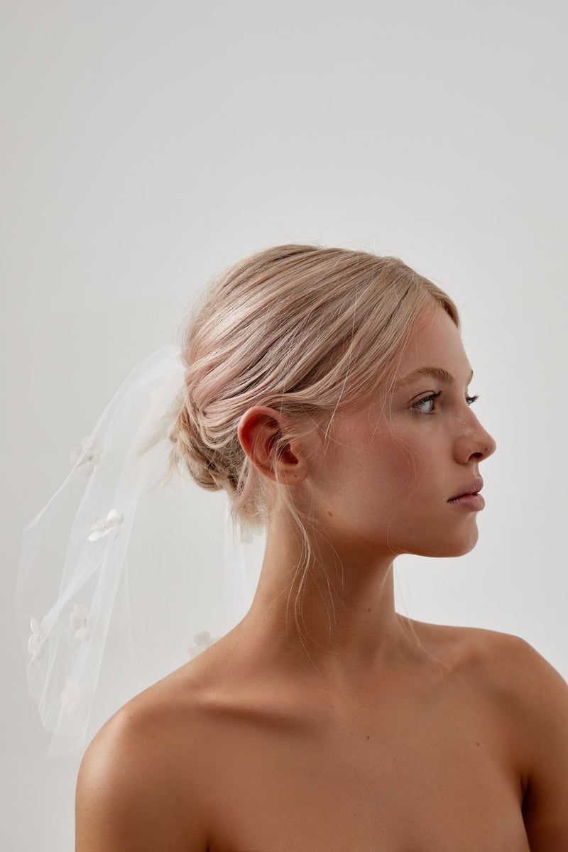Short Veil with Flowers by Amelie George Bridal