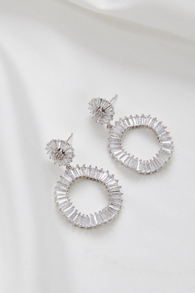 Silver Dangle Earrings For Wedding by Amelie George Bridal