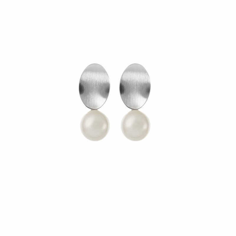 Silver Pearl Drop Earrings by Amelie George Bridal Modern Wedding Jewellery