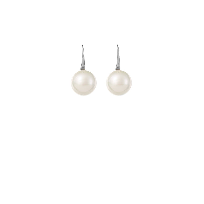 Silver Single Pearl Wedding Earrings by Amelie George Bridal