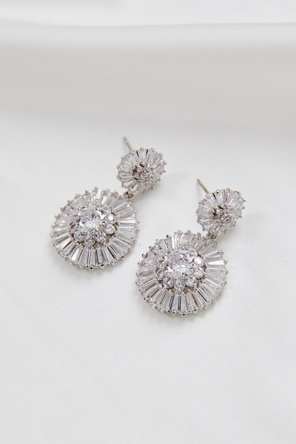 Silver Swarovski Wedding Earrings by Amelie George Bridal