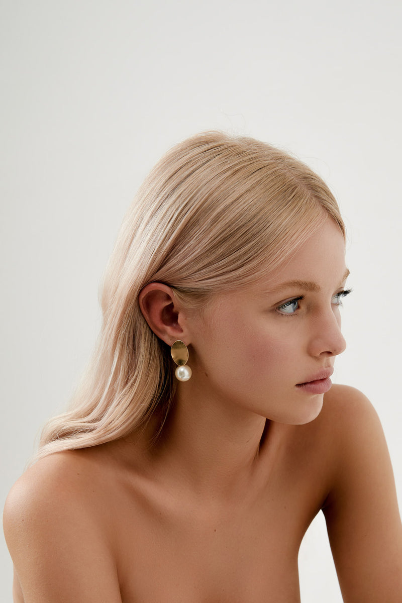 Simple Drop Earrings Wedding by Amelie George Bridal, Gold Modern Wedding Jewellery