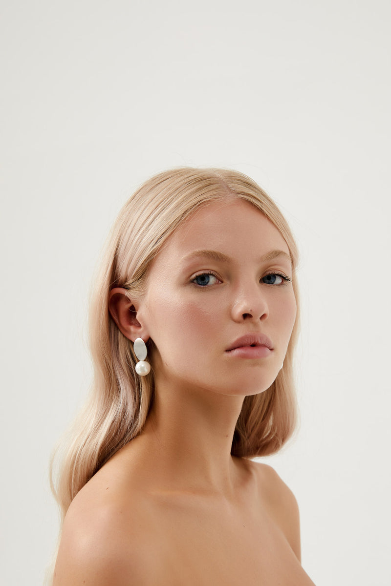 Simple Drop Earrings Wedding by Amelie George Bridal, Silver Modern Wedding Jewellery