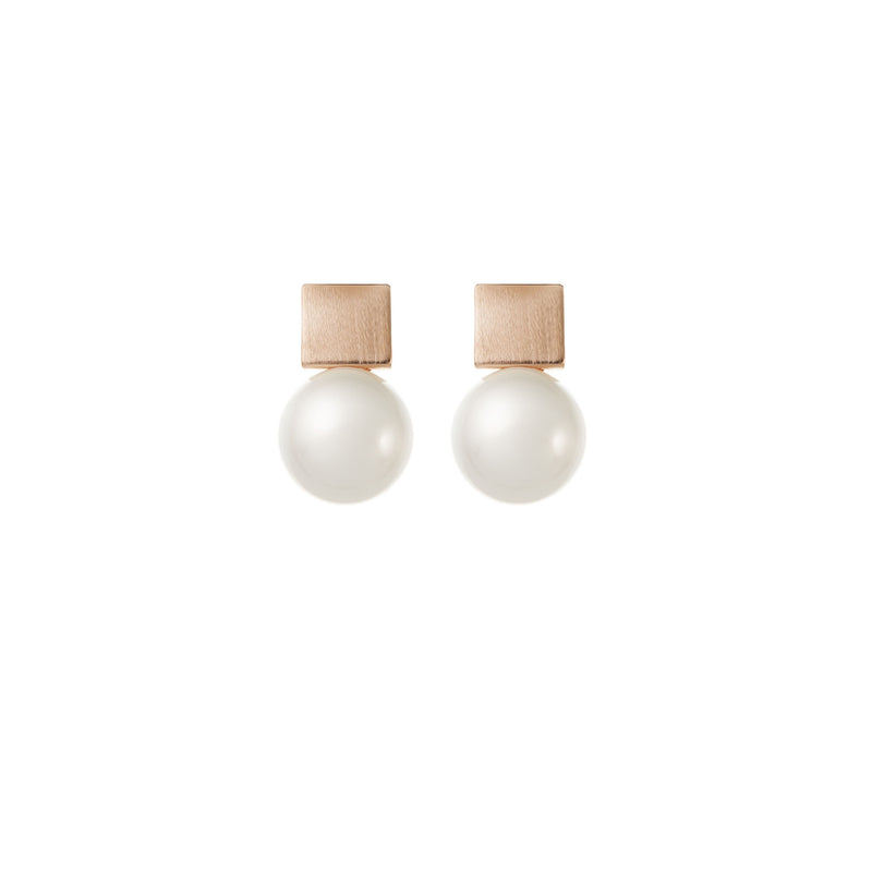 Simple Pearl Wedding Earrings in Rose Gold by Amelie George Bridal