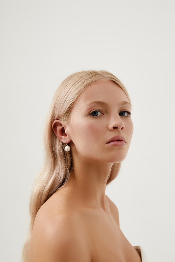 Small Pearl Wedding Earrings in Rose Gold by Amelie George Bridal