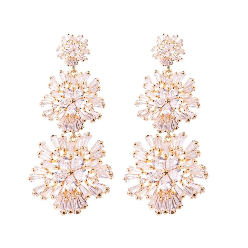 Statement Crystal Earrings Wedding by Amelie George Bridal-Rose Gold Modern Wedding Jewellery