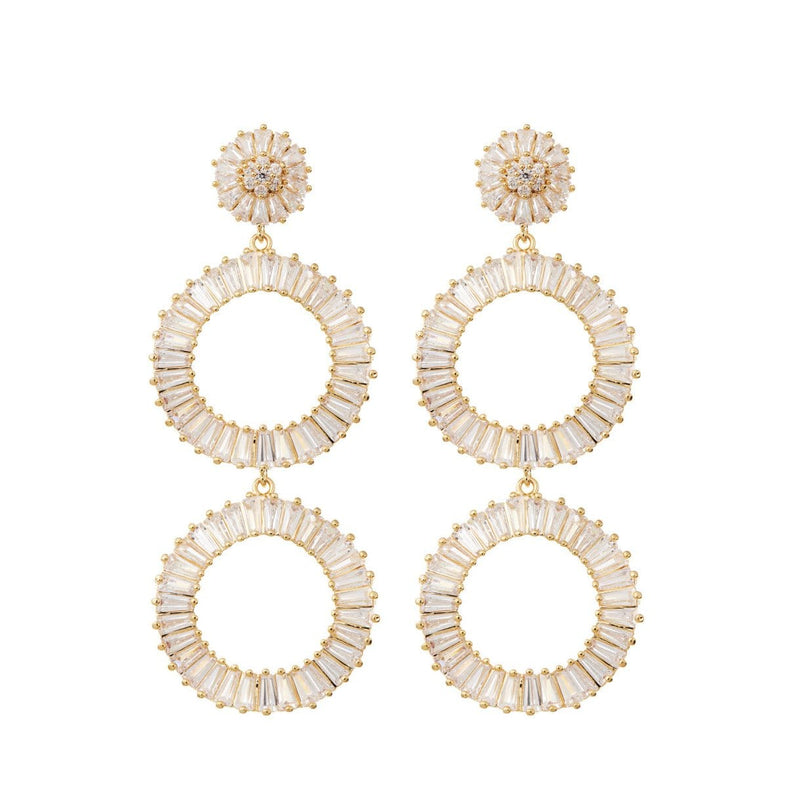 Statement Diamond Earrings Wedding by Amelie George Bridal-Gold Modern Wedding Jewellery