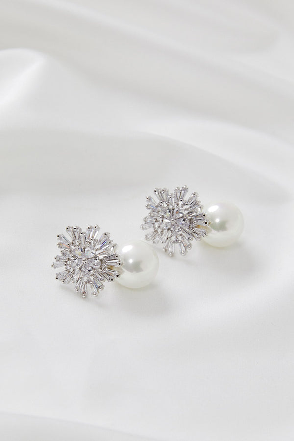 Wedding Earrings Silver by Amelie George Bridal