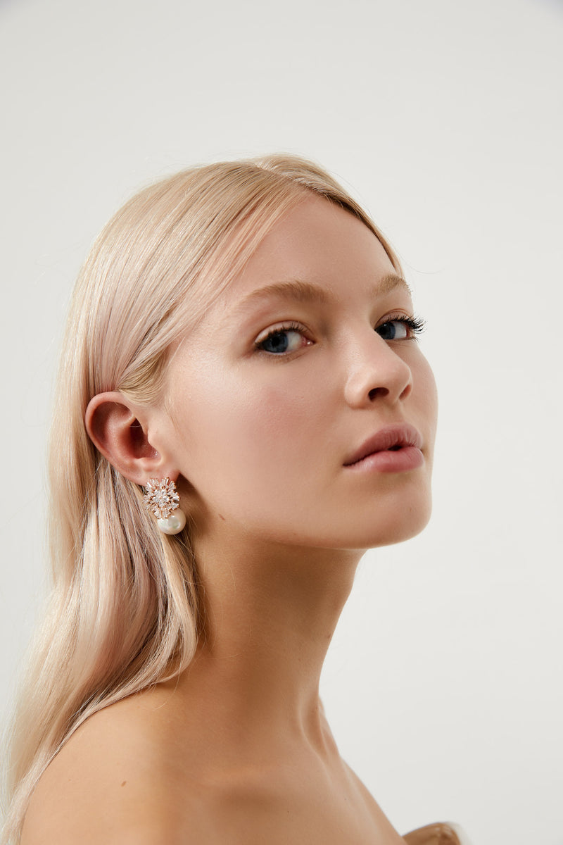 Wedding Earrings for Bride by Amelie George Bridal in Rose Gold