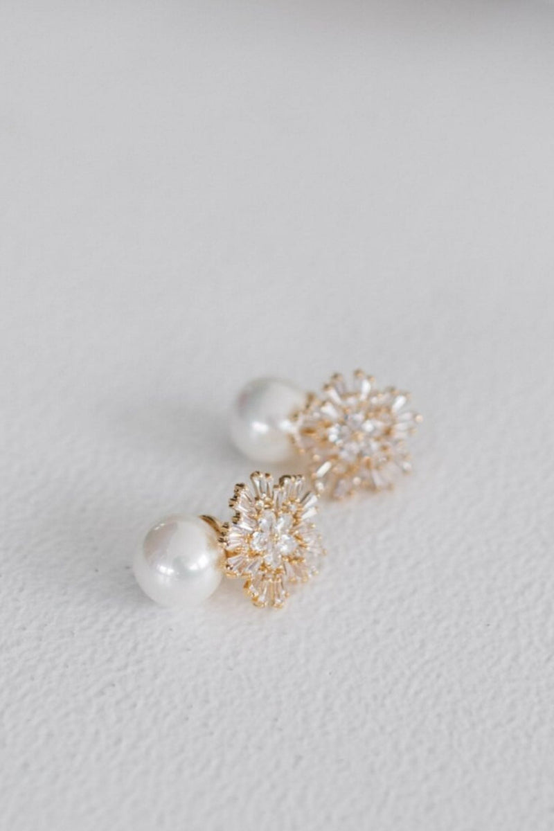 ST CLAIR - DIAMOND AND PEARL DROP EARRINGS WEDDING - GOLD