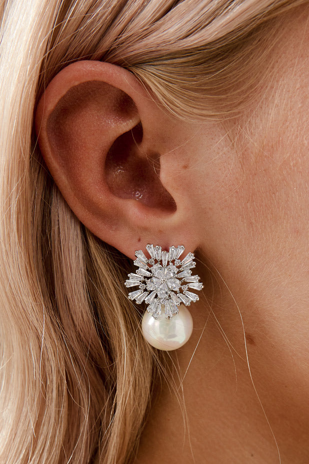 White Gold Diamond Pearl Earrings by Amelie George Bridal
