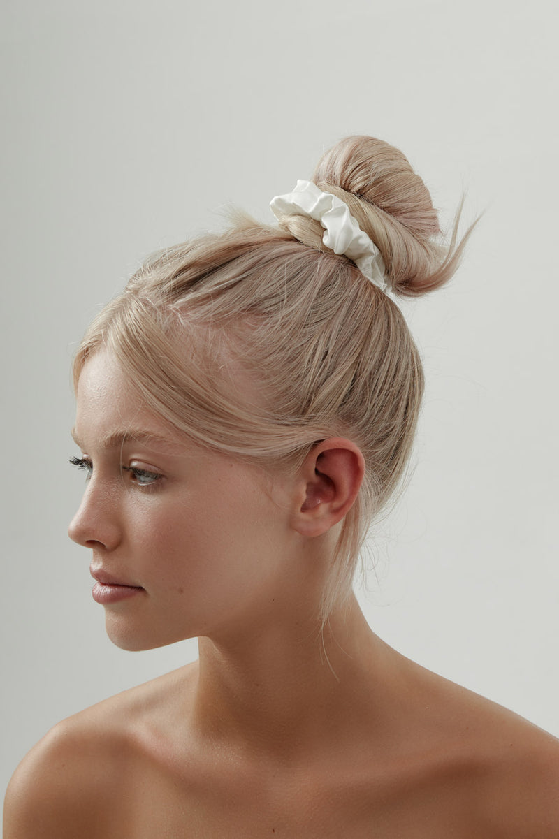 White Silk Scrunchie by Amelie George Bridal