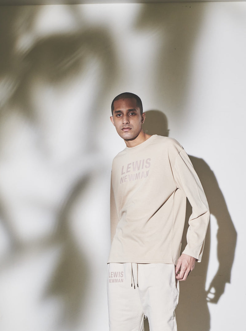 Wide rubber print Long T-shirt【Beige】