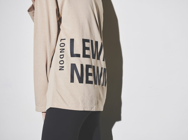 Screen logo print Long T-shirt【Beige】
