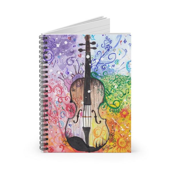 Rainbow Violin Spiral Notebook - Ruled Line