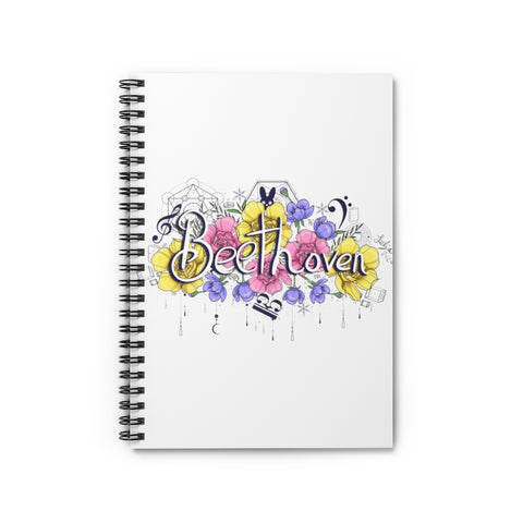 Beethoven Flowers Spiral Notebook - Ruled Line