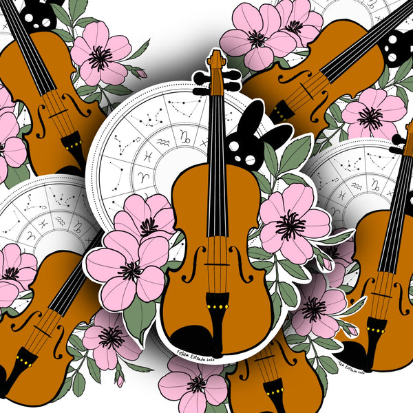Violin Cherry Blossom Sticker