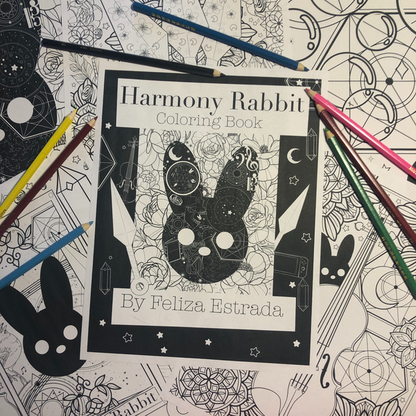 Harmony Rabbit Coloring Book Pages Digital Download