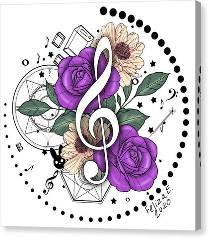 Flowers Trebel Clef-Pink - Canvas Print