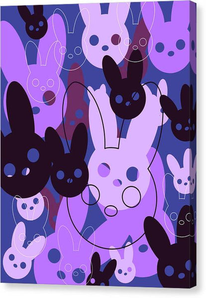 Harmony Rabbit Purple Wave - Canvas Print
