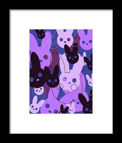 Harmony Rabbit Purple Wave - Framed Print