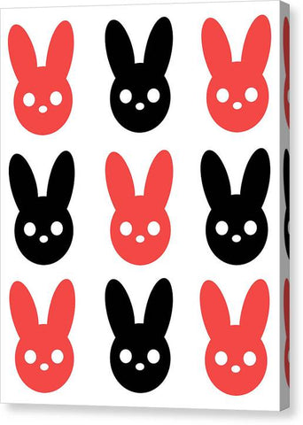 Harmony Rabbit Red and Black - Canvas Print