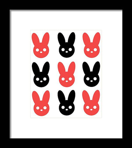 Harmony Rabbit Red and Black - Framed Print
