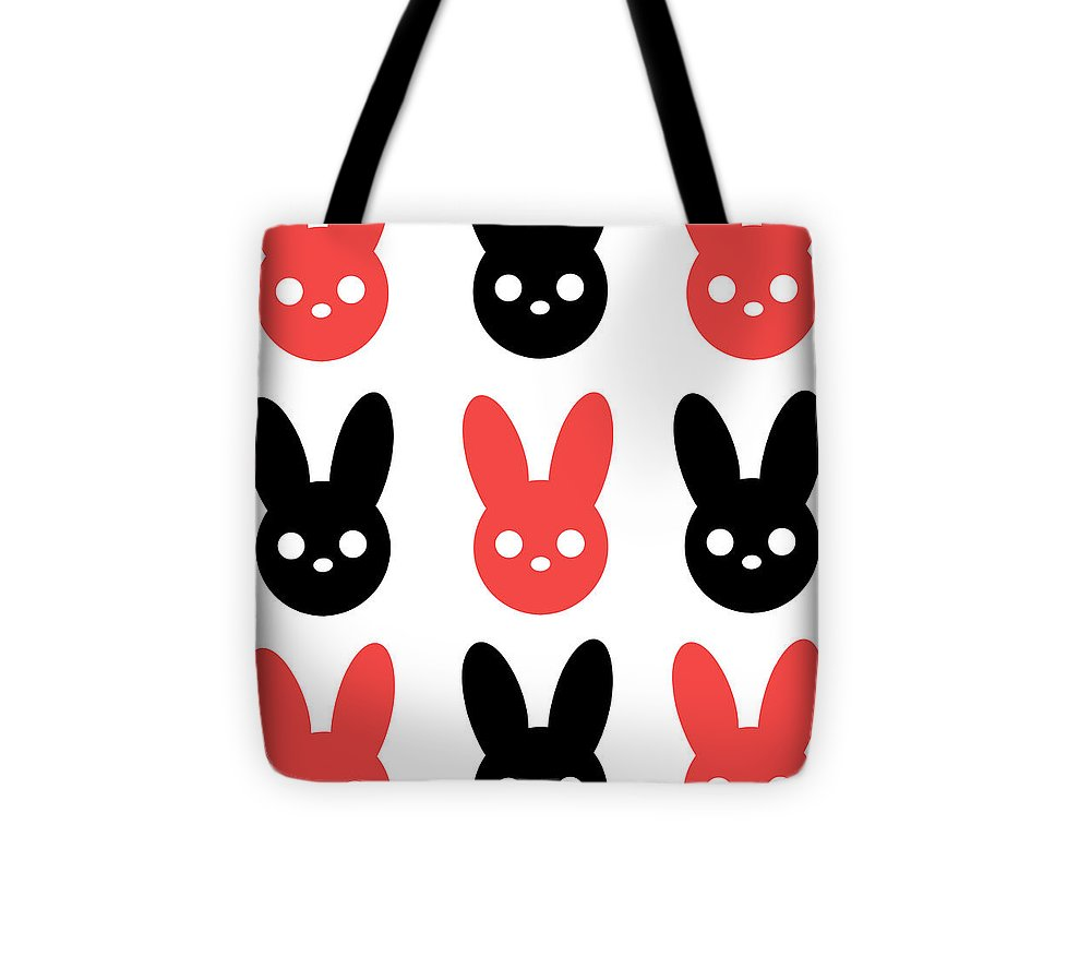 Harmony Rabbit Red and Black - Tote Bag