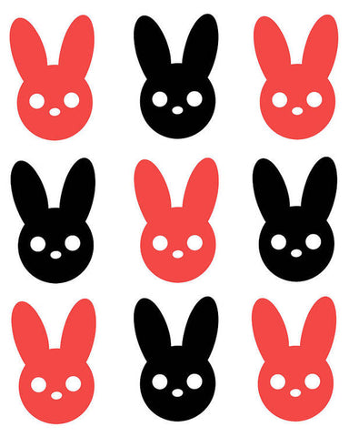 Harmony Rabbit Red and Black - Art Print