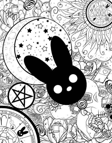Harmony Rabbit Sun, Moon, and Stars - Art Print