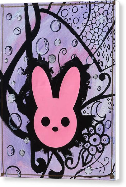 Pink and Purple Harmony Rabbit Painting - Canvas Print