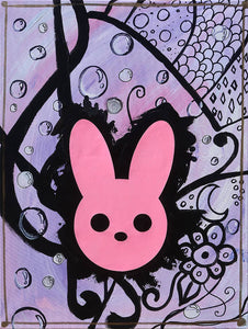 Pink and Purple Harmony Rabbit Painting - Art Print