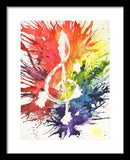 Rainbow Treble Clef - Framed Print