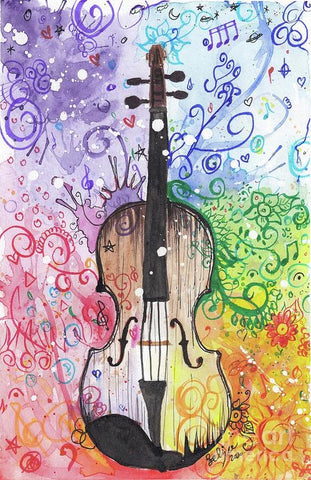 Rainbow Violin  - Art Print