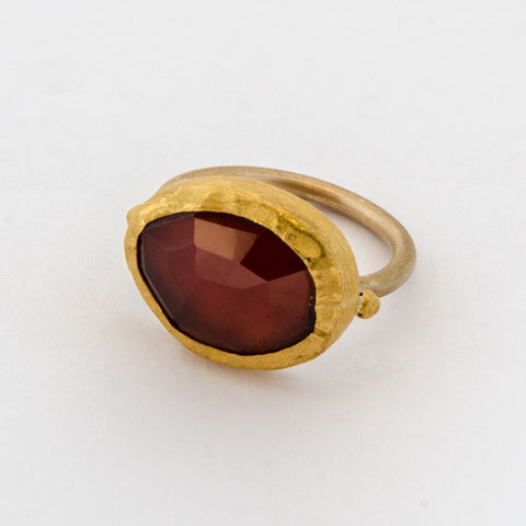 Large Oval Hessonite Garnet Gold Ring Wrapped with 24k Gold - Nava Zahavi