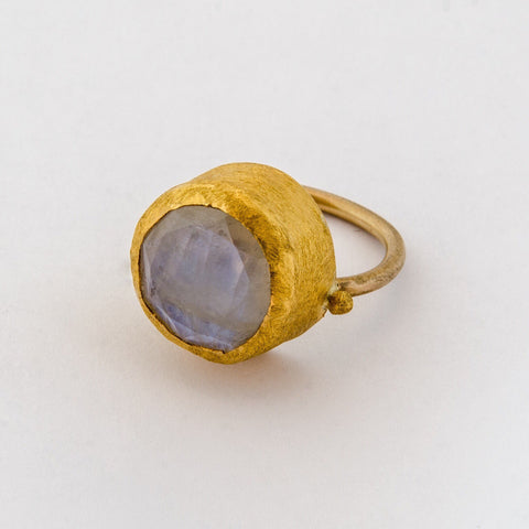 Ring Wrapped with 24k Gold with Large Round Moonstone - Margery Hirschey